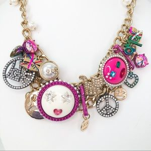 Betsey Johnson Emoji Charm Necklace